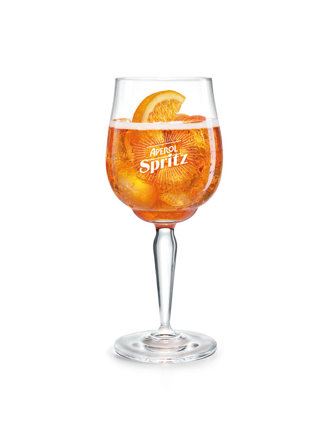aperol spritz presenta il signature glass disegnato da
