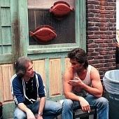 John Carpenter anfd Kurt Russell on set of Big Trouble in Little China